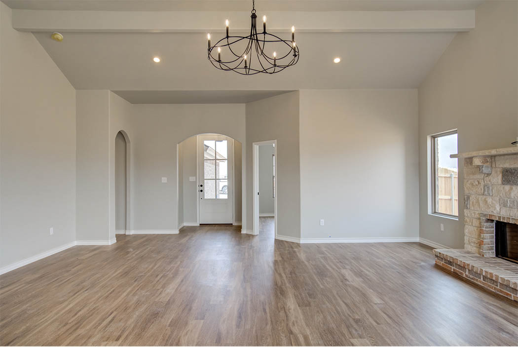 Spacious great room in new home for sale in Lubbock.