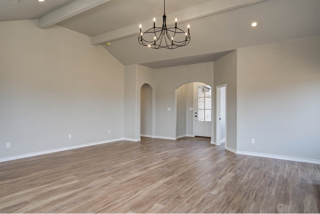 Spacious great room in new home for sale in Lubbock, Texas.