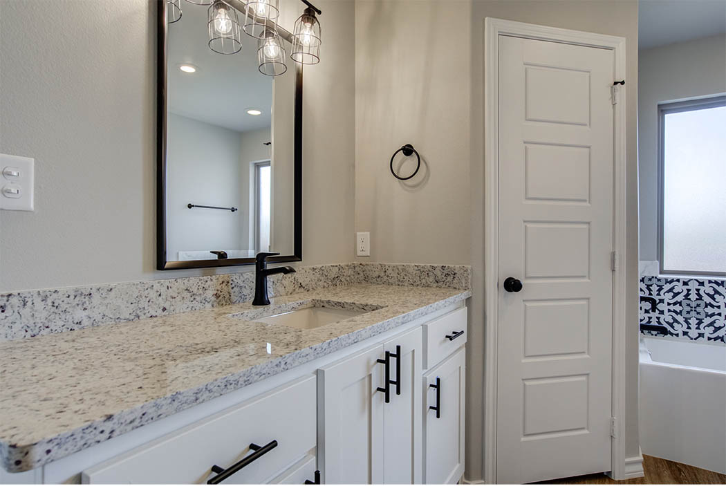 Bathroom vanity in new Lubbock area home for sale.