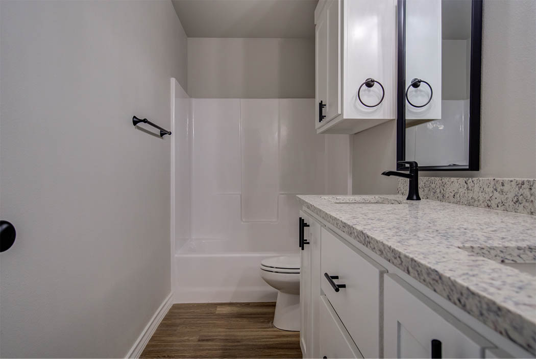 Roomy guest bath in new home for sale in Lubbock.