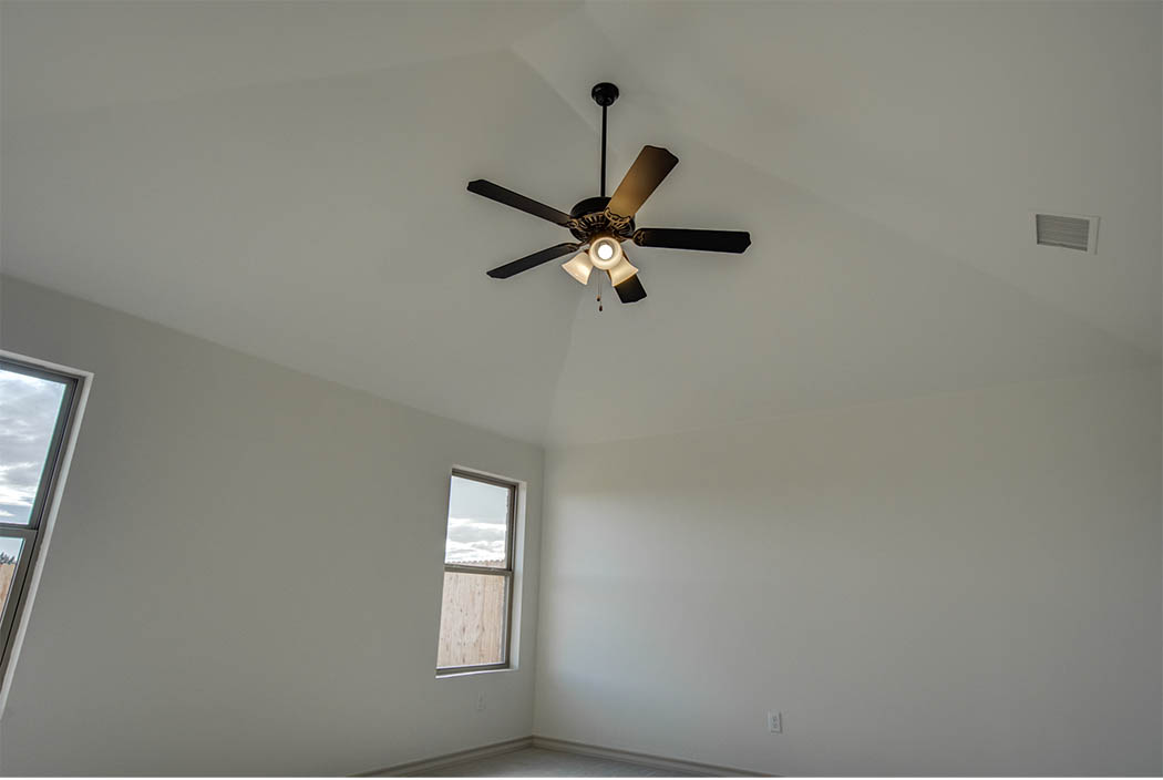 Master bedroom with vaulted ceiling in new home for sale in Lubbock.