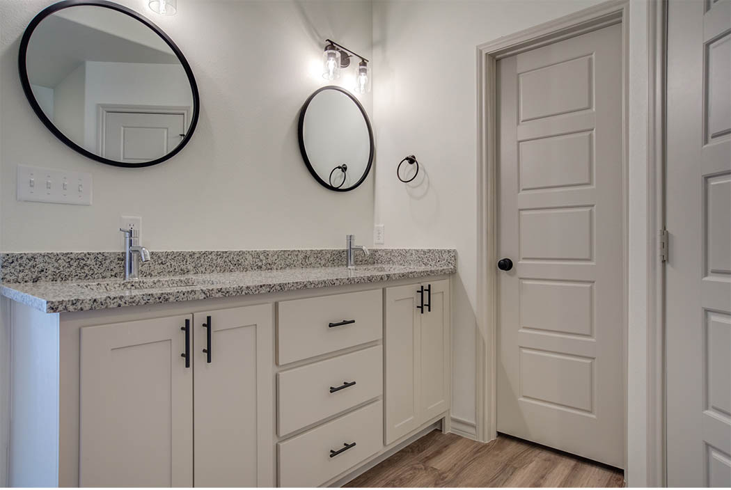 Bathroom vanity in new Lubbock home for sale.
