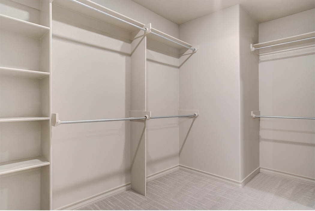 Roomy master closet in master bedroom in new home for sale in Lubbock.
