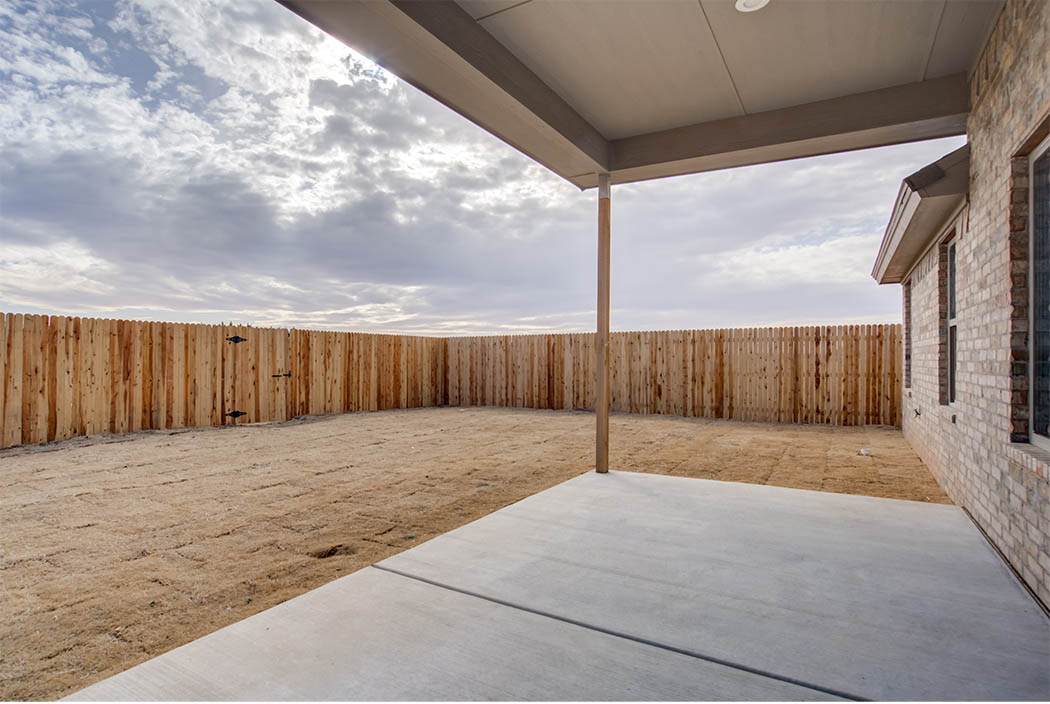 Spacious backyard in new home for sale in Lubbock, Texas.