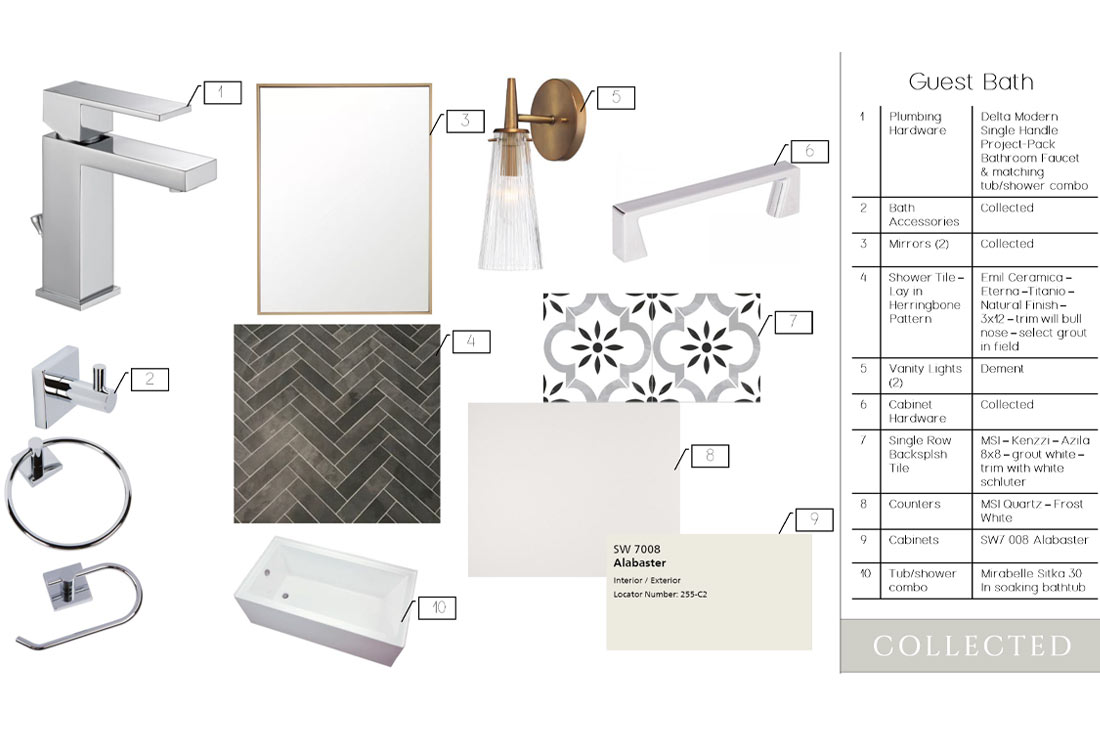 Interior specifications of beautiful guest bath in new home in Lubbock, Texas.
