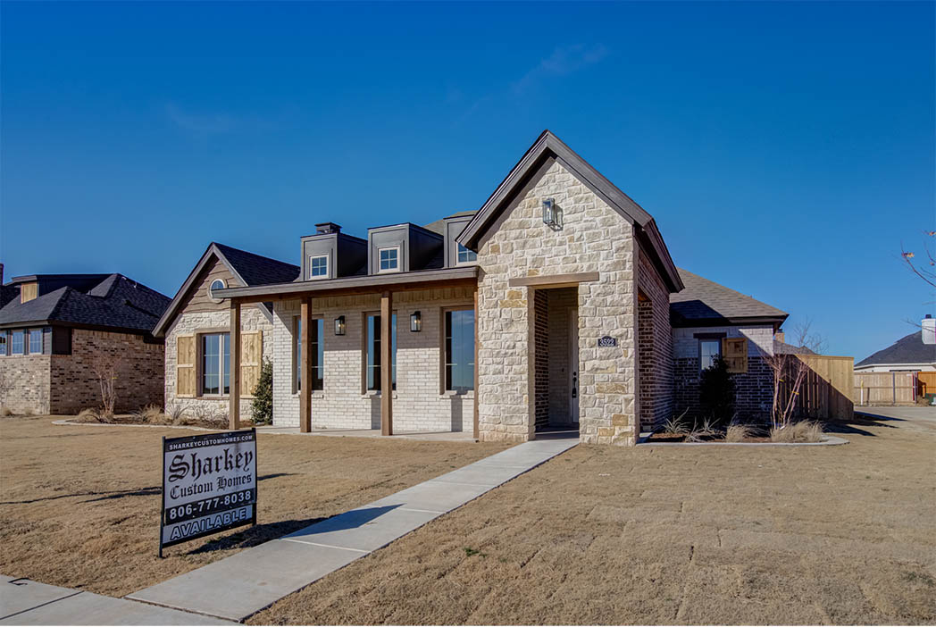 Exterior of beautiful house by Sharkey Custom Homes in the Lubbock, Texas area.