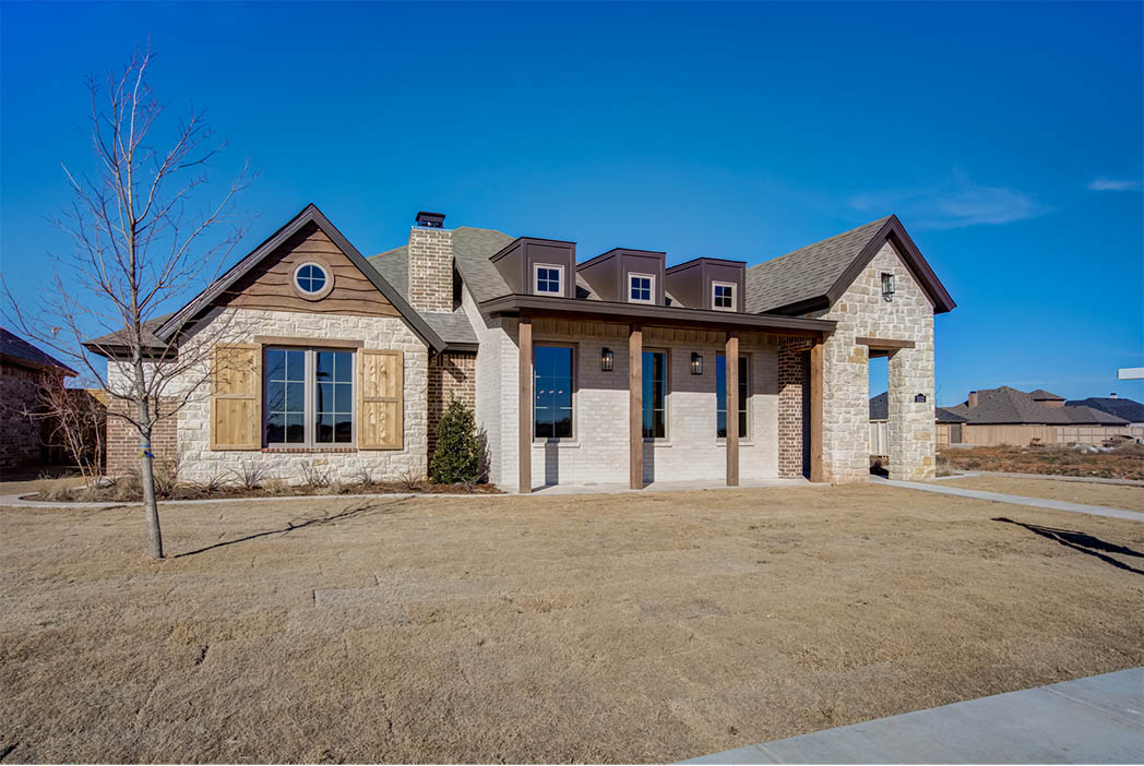 Alternate exterior view of new home for sale in Lubbock, Texas.