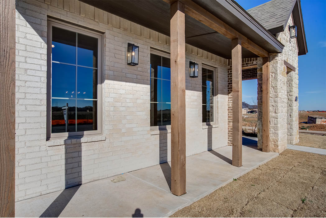 Detail of exterior front windows in new Lubbock home.