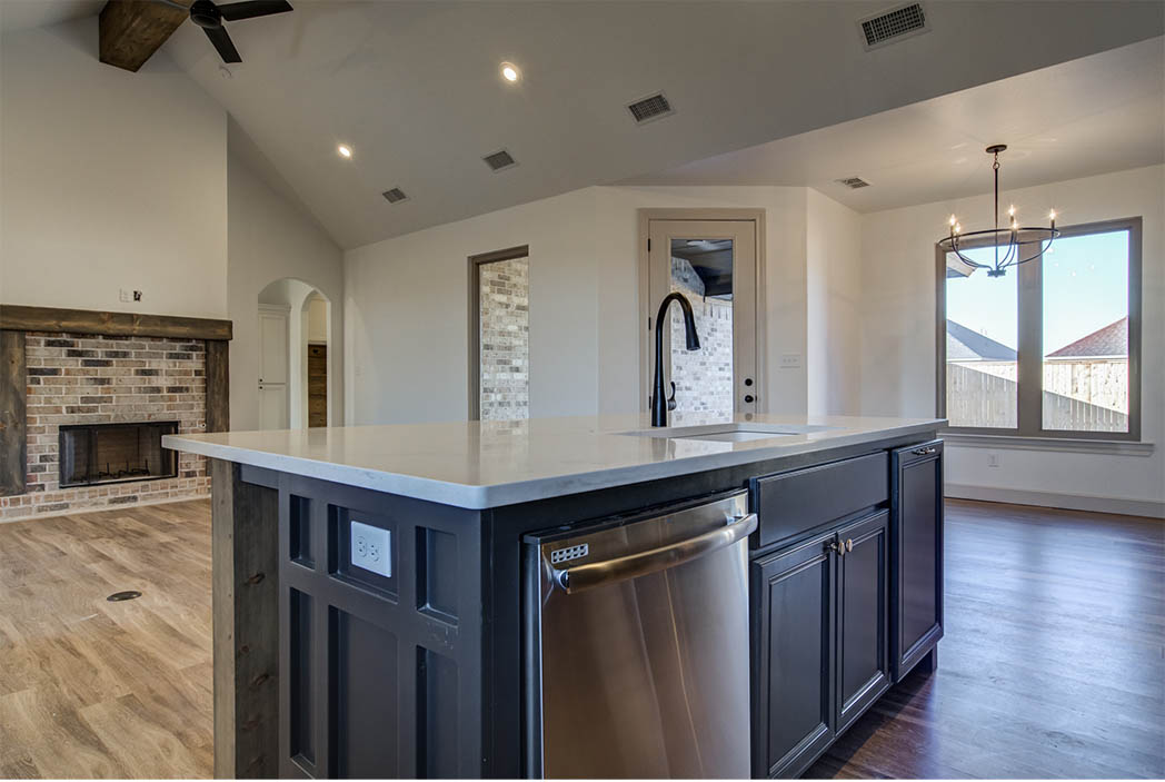 Kitchen island in beautiful new home for sale in Lubbock, Texas.