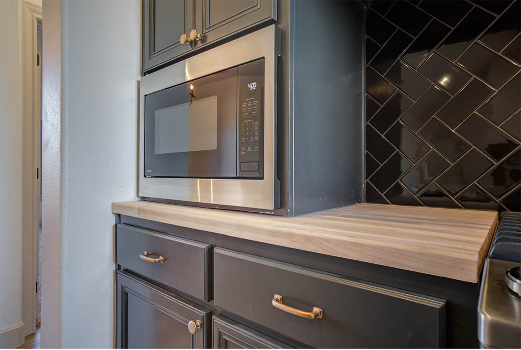 Microwave area of kitchen in new home for sale in Lubbock.