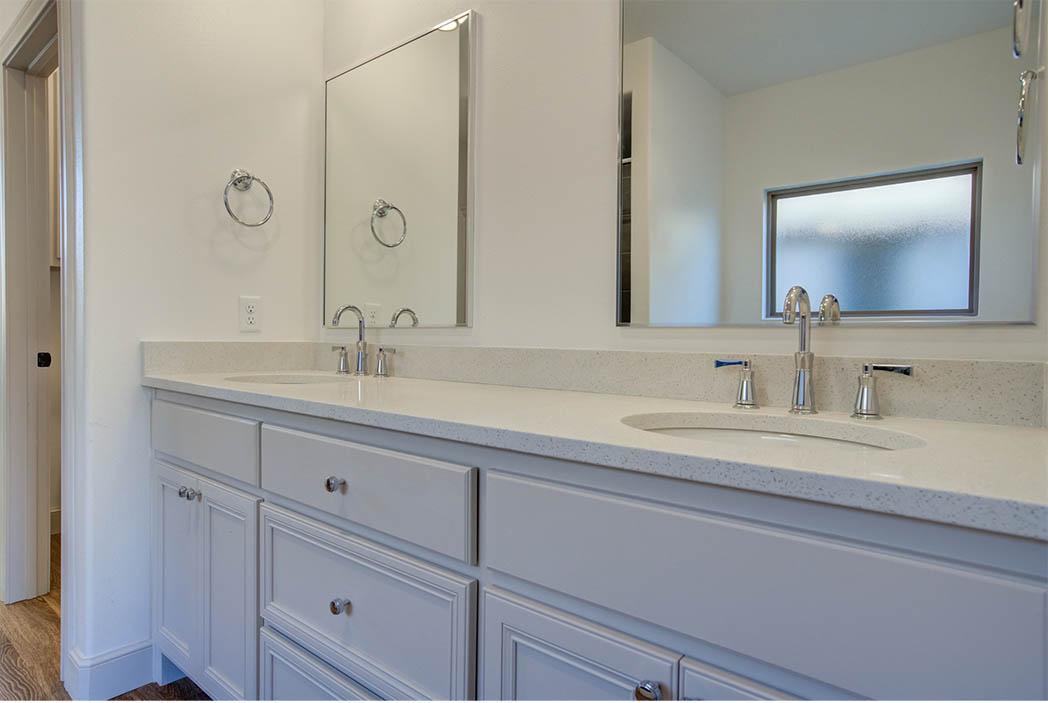 Vanity in master bathroom in new home for sale in Lubbock, Texas.