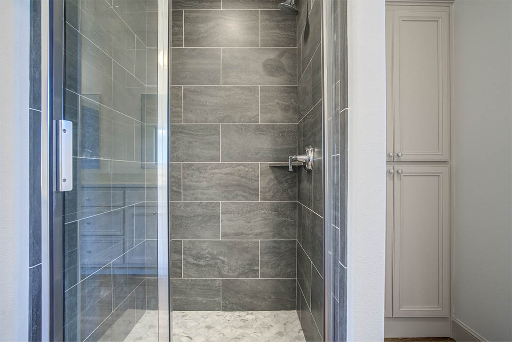 Beautiful shower in master bath in new home for sale.