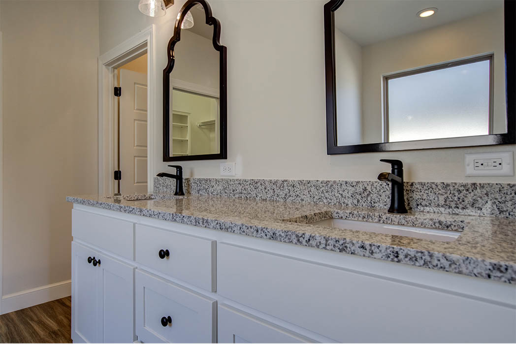 Vanity in new home master bathroom in Lubbock.