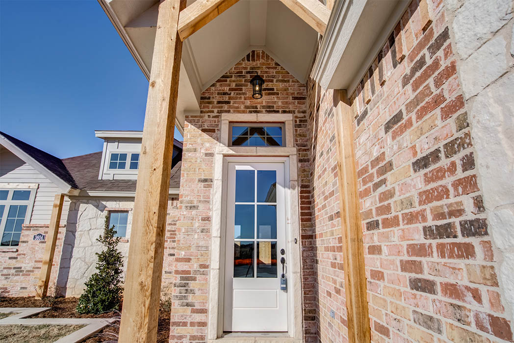 Front exterior detail of home for sale by Sharkey Custom Homes in Lubbock.