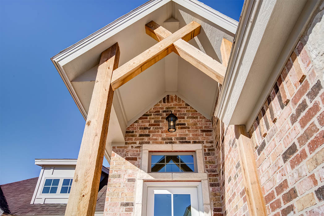Detail of exterior front entry in new Lubbock home.