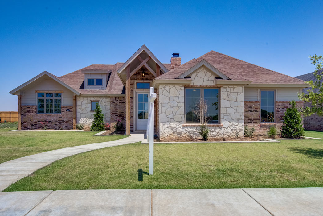 Exterior view of new home for sale in Lubbock, Texas, by Sharkey Custom Homes.