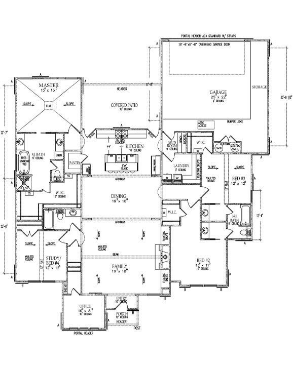 Floor plan of beautiful new West Texas home in Lubbock.