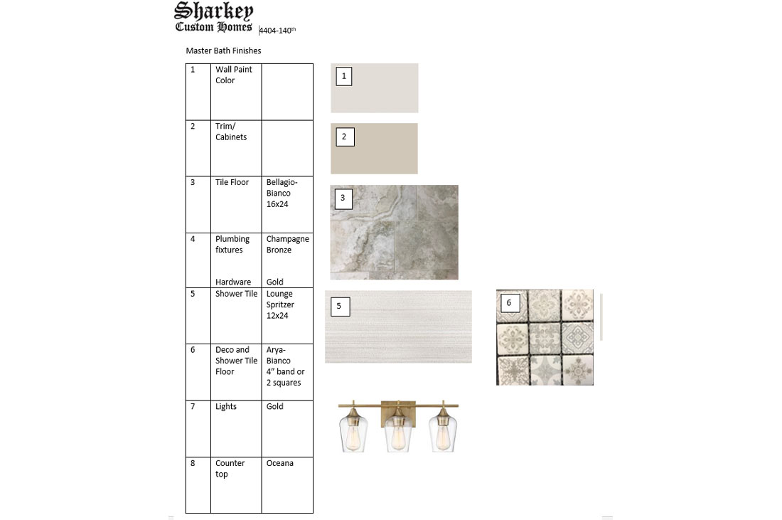Interior specifications of beautiful master bath in new home in Lubbock, Texas.
