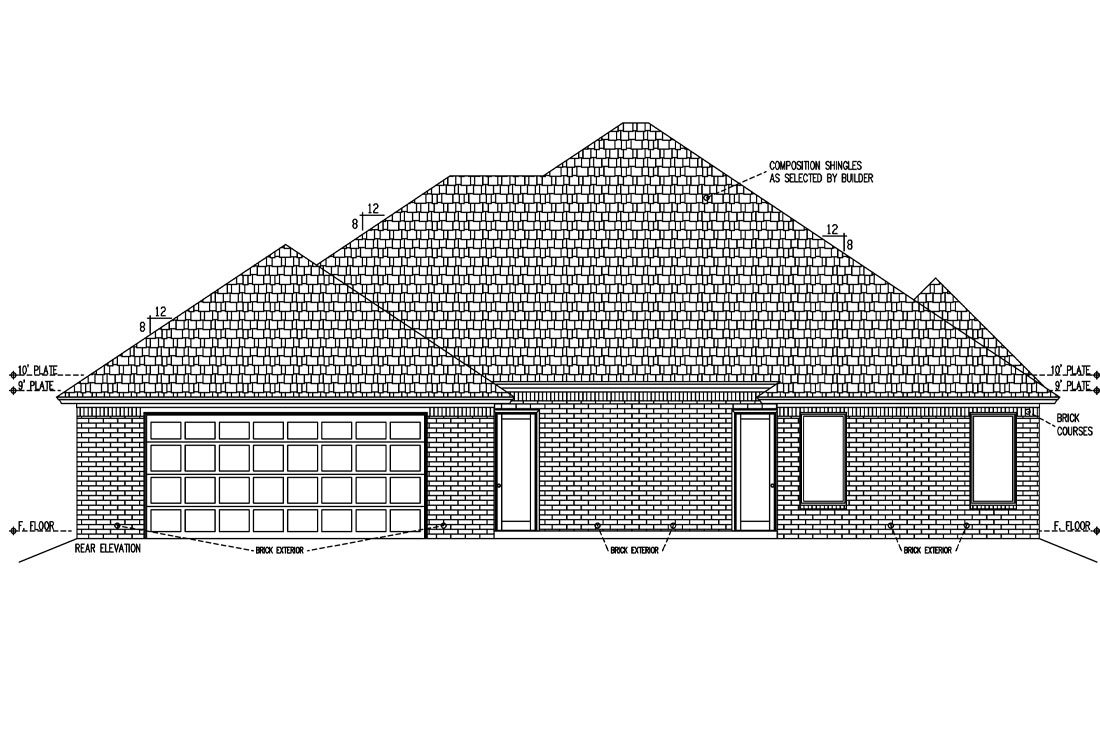 Rear elevation of new Lubbock, Texas home.