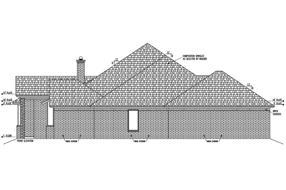 Side elevation on new home in Lubbock, Texas.