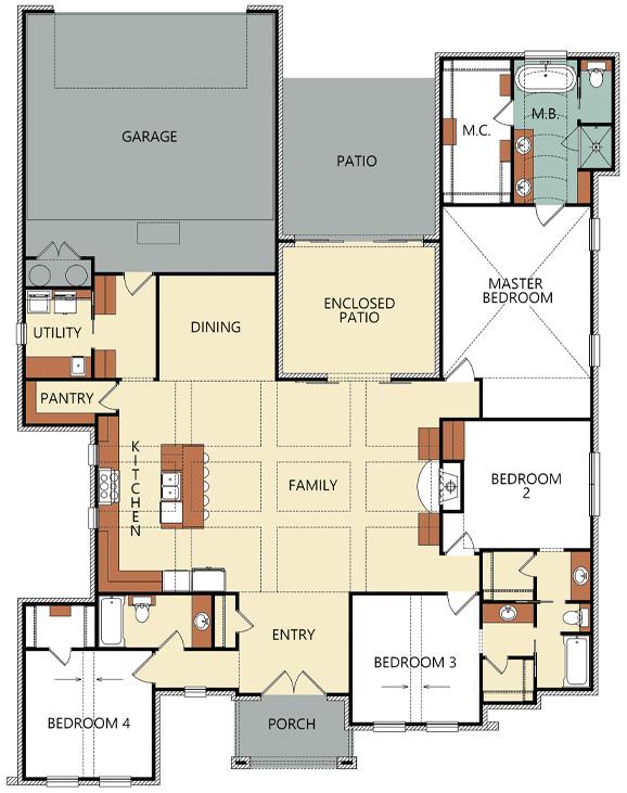 Floorplan of new home for sale in Lubbock, built by Sharkey Custom Homes.
