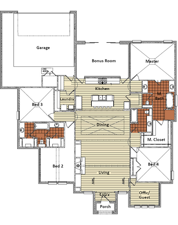 Floor plan of beautiful home in Lubbock, Texas.