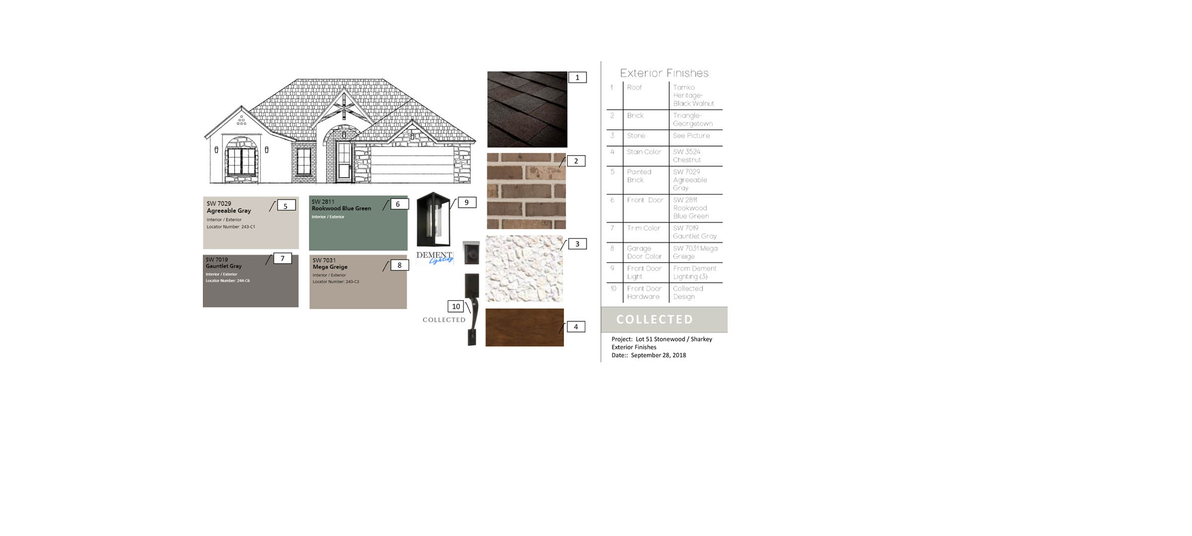 Exterior finishes of new home in Lubbock, Texas, by Sharkey Custom Homes.