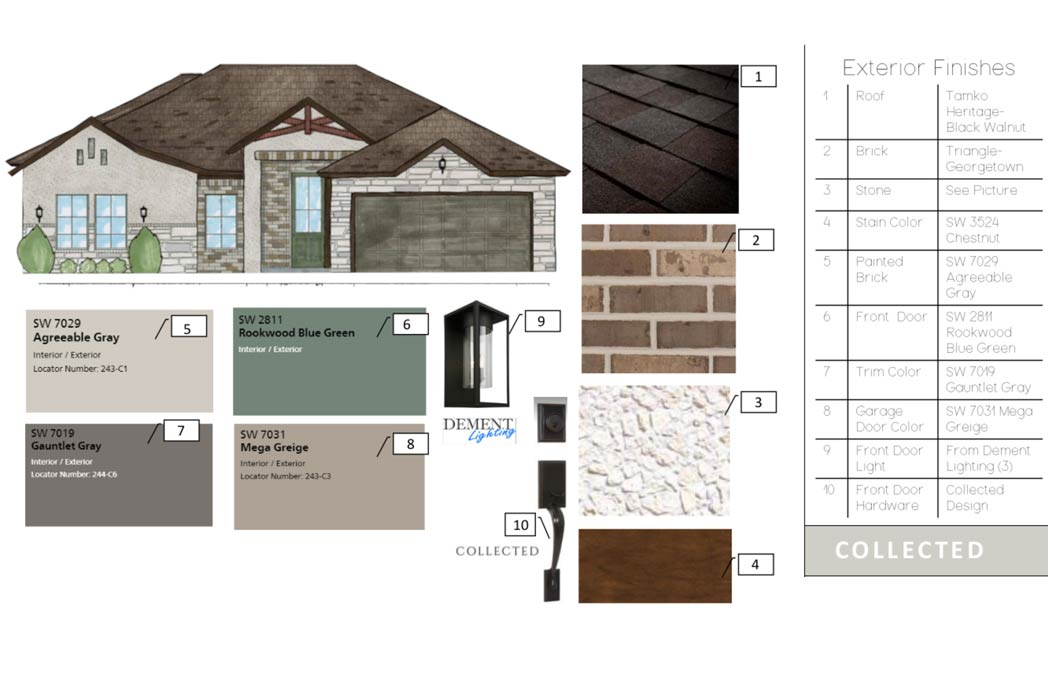 Exterior finishes of beautiful new home for sale in Lubbock, Texas.