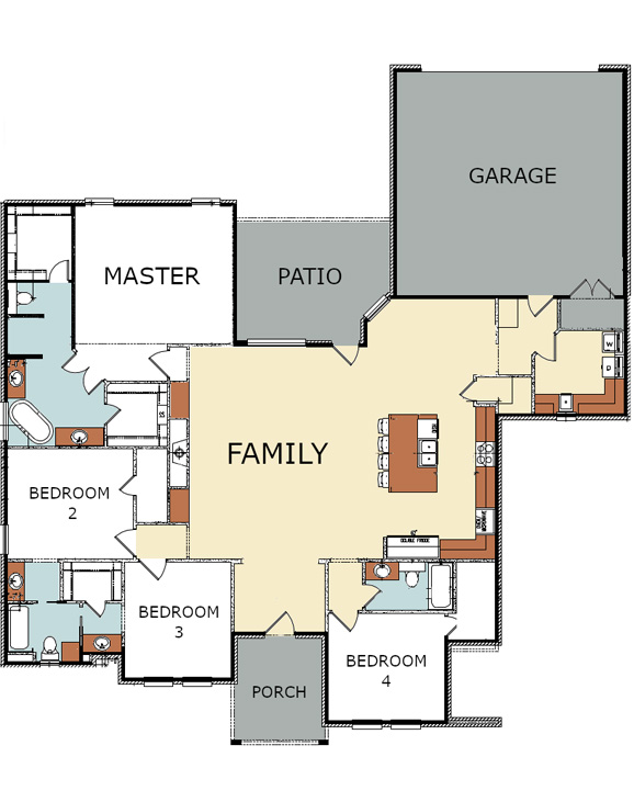 Floor plan of beautiful new home for sale in Lubbock, Texas.