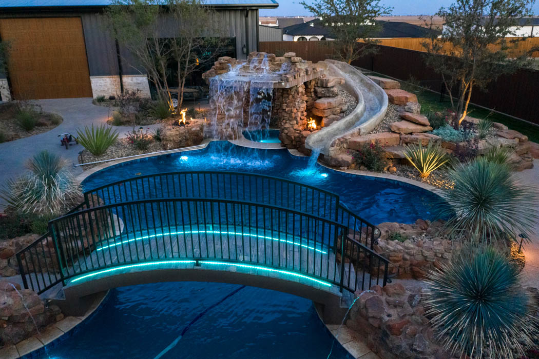 Custom pool and outdoor living space in home near Lubbock, Texas.