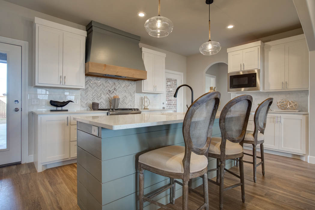 Beautiful kitchen island in new home for sale in Lubbock.