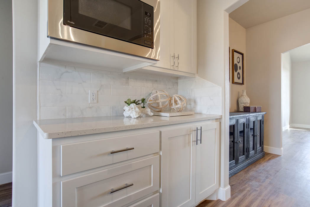Close view of kitchen microwave area in beautiful new home for sale in Lubbock, Texas.