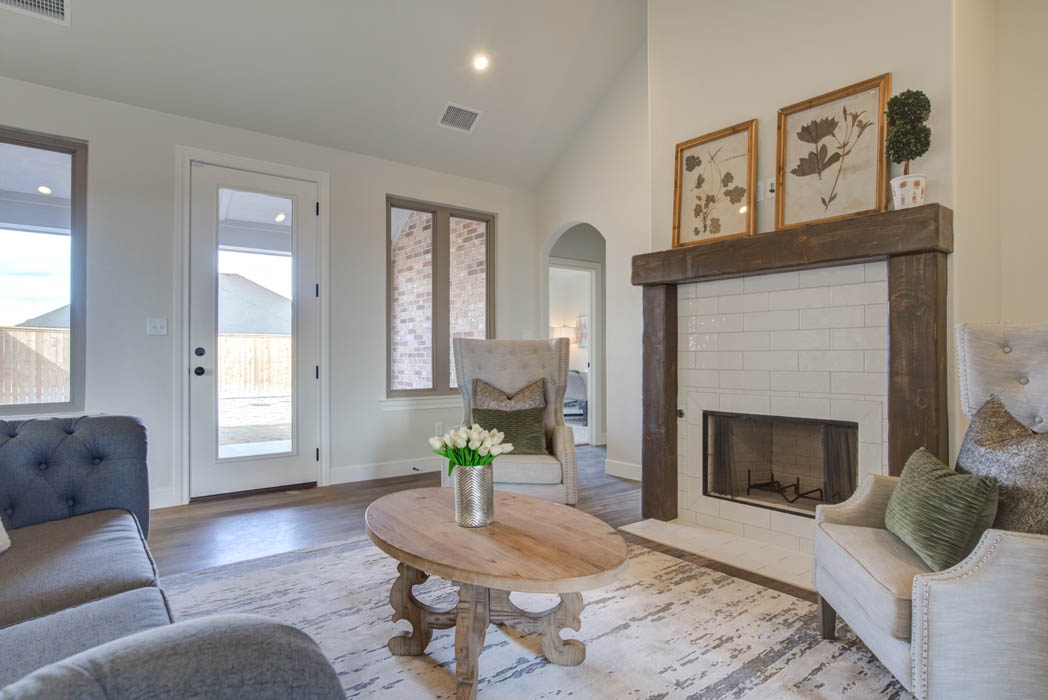 Fireplace in living room of beautiful new home for sale in West Texas.