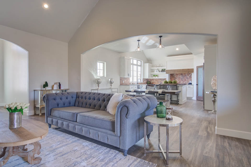 View of spacious living area in new home for sale in Lubbock.