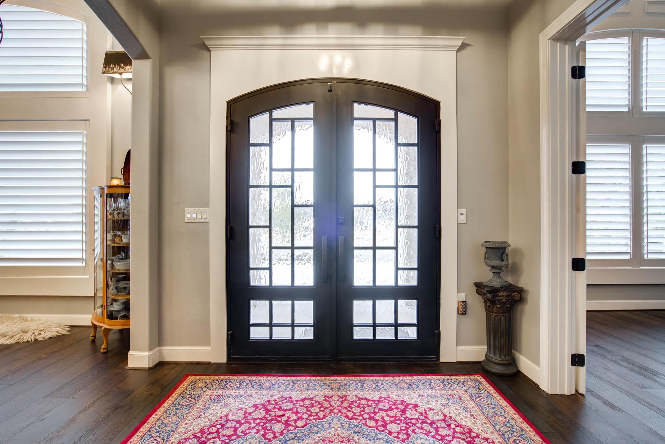Entry foyer of custom home in Lubbock, Texas.