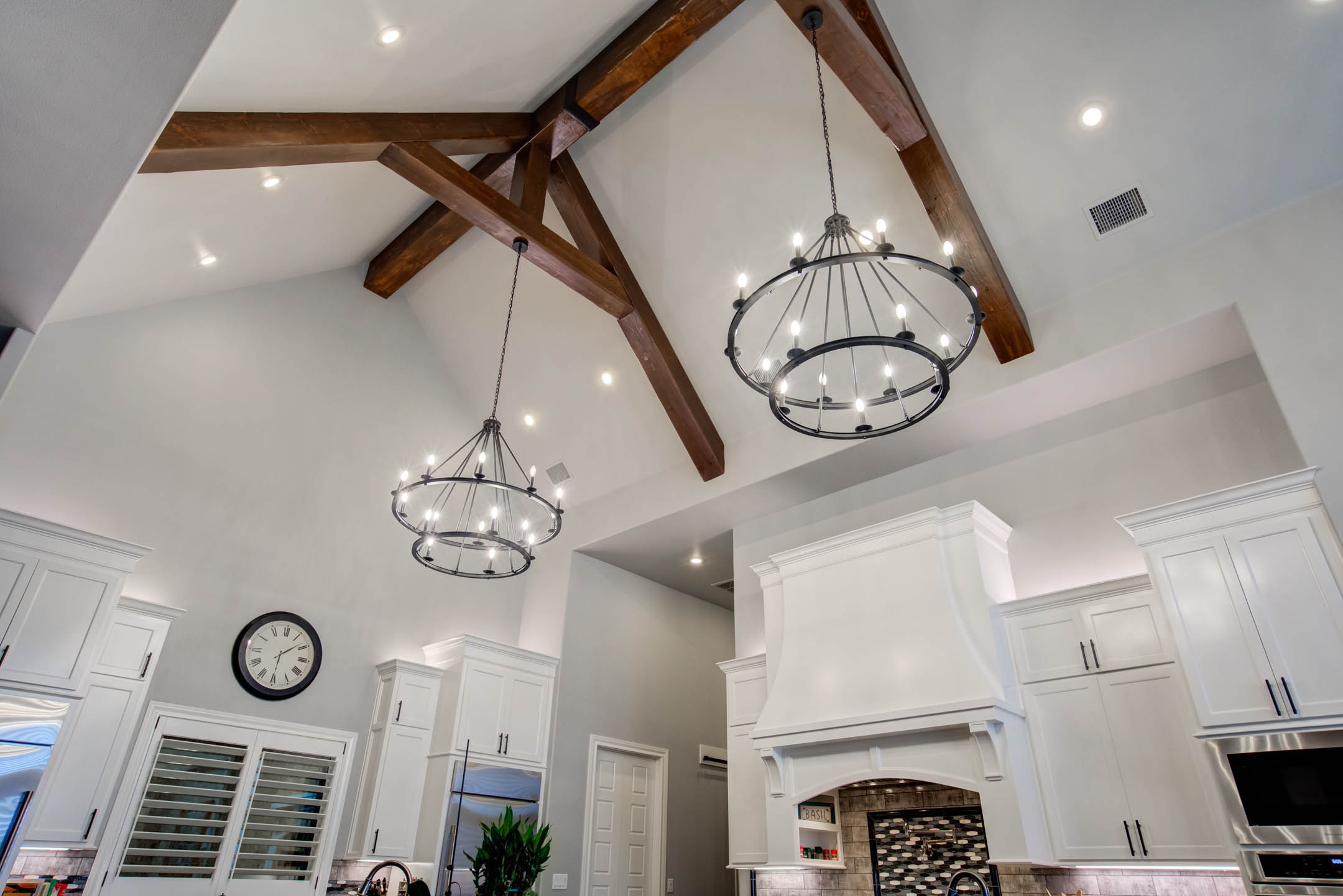 Alternate view of vaulted ceiling in kitchen of custom home in Lubbock, Texas.