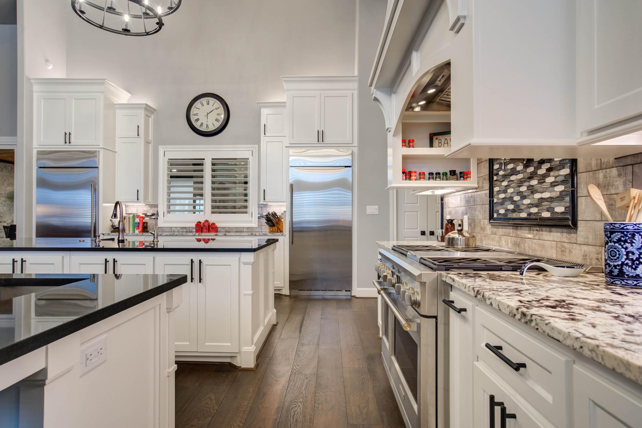 Spacious kitchen in custom home built in Lubbock, Texas.