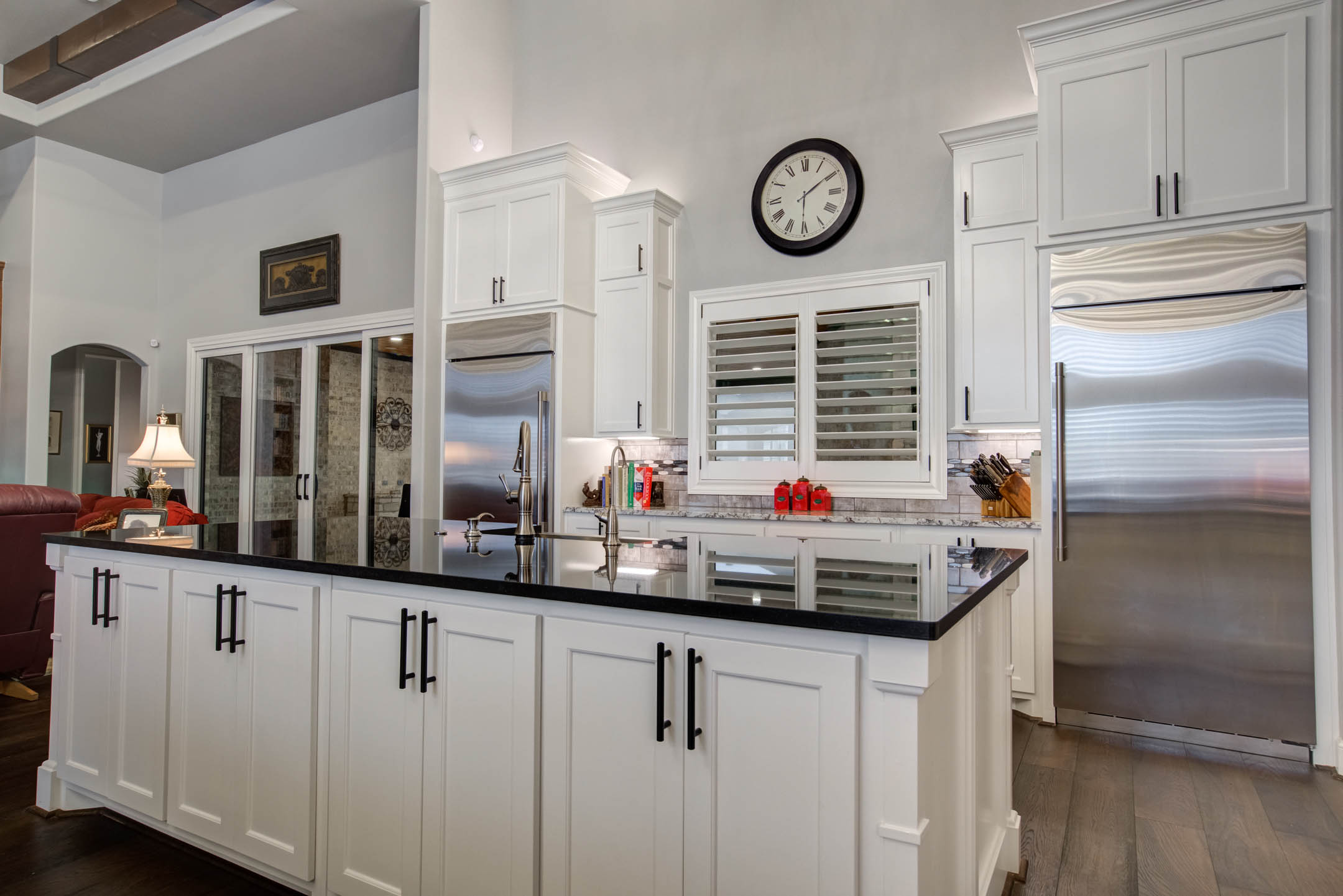Lots of counter space in beautiful kitchen in custom home in Lubbock, Texas.