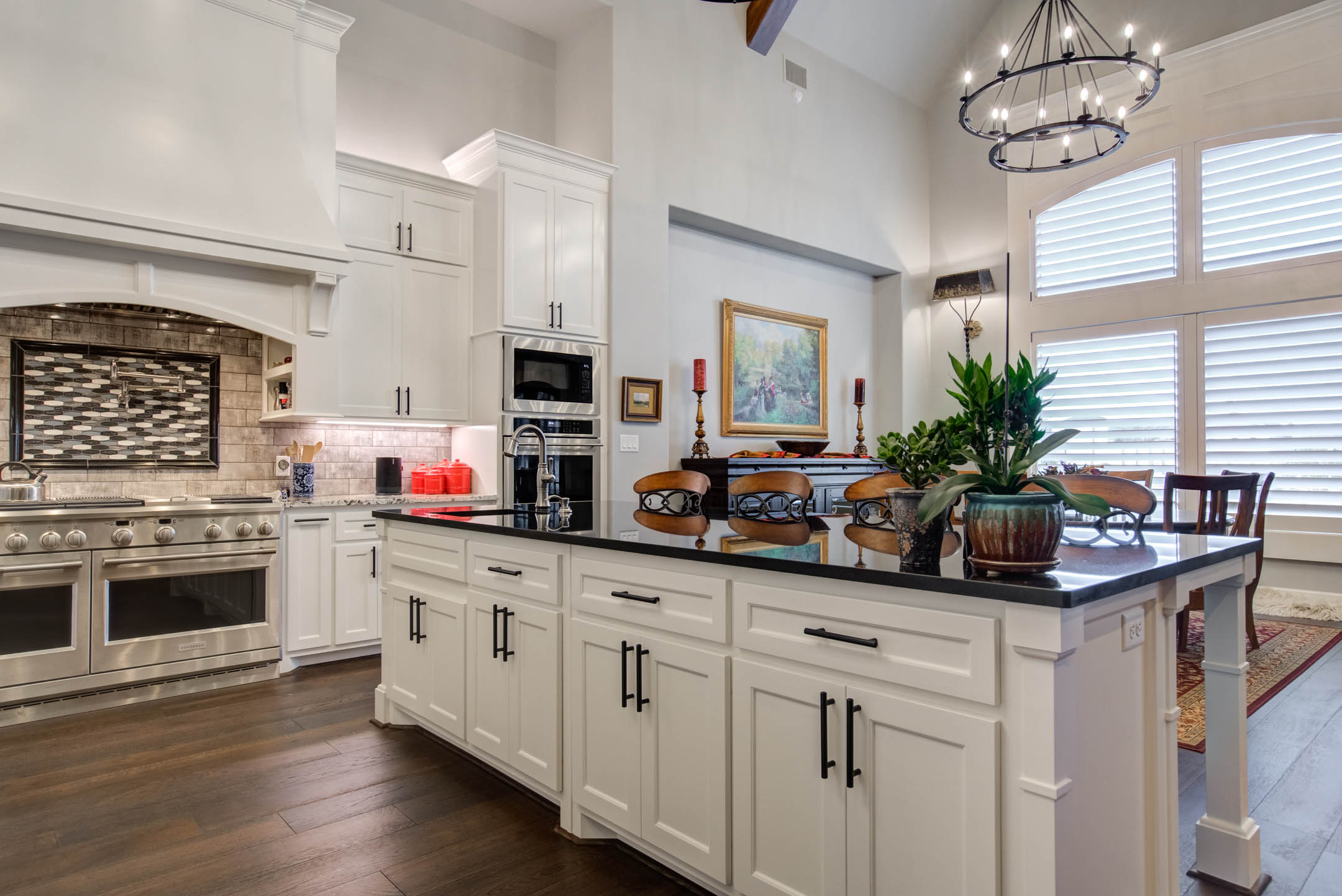 Center island in kitchen of custom home in Lubbock, Texas.