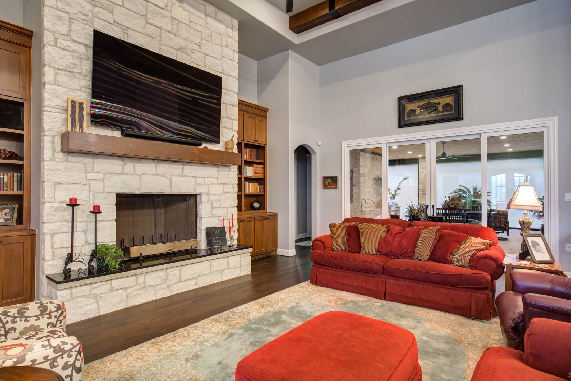 Beautiful living area in custom home in Lubbock, Texas.
