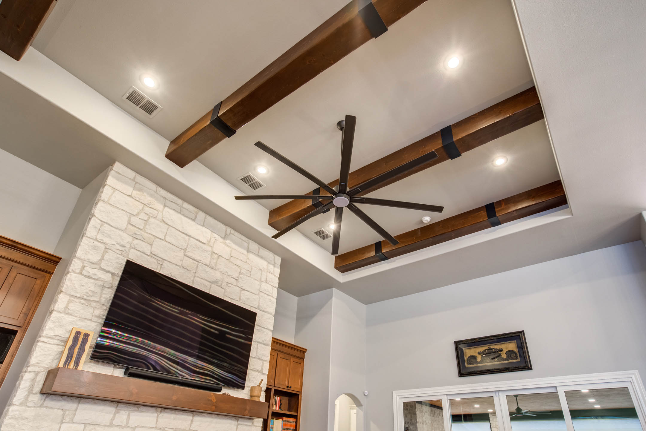 Detail of ceiling in living area of custom home in Lubbock.