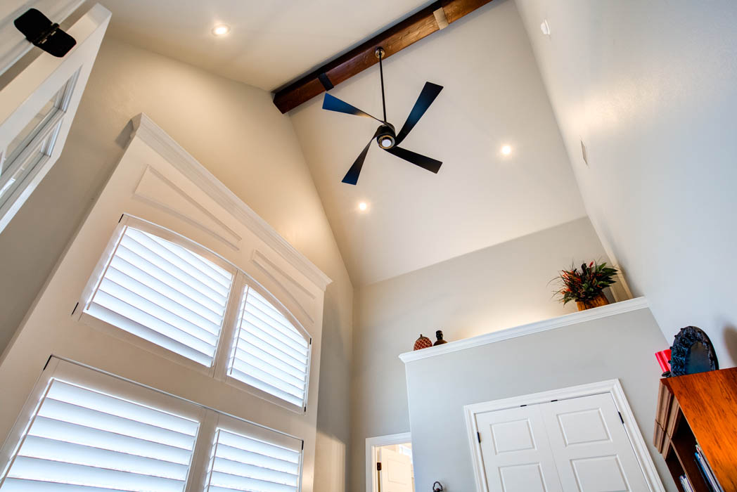 Office in beautiful custom home in Lubbock with vaulted ceiling.
