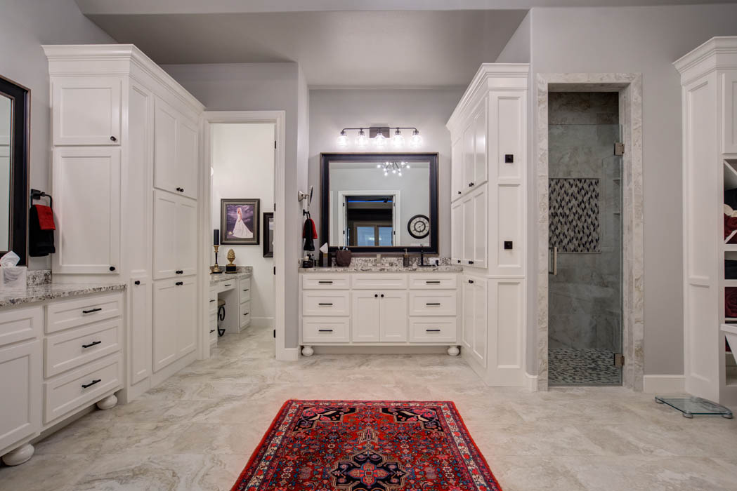 View of spacious master bath in custom home in Lubbock, Texas.