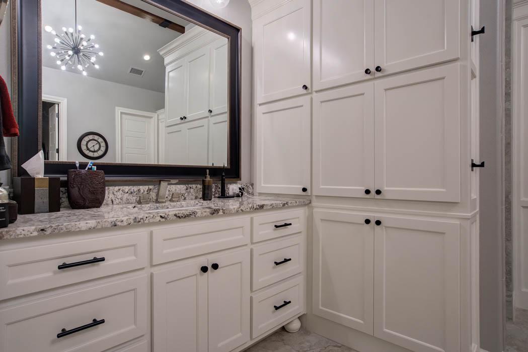 Vanity in master bath of custom home in Lubbock.