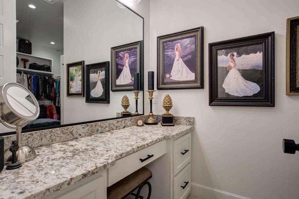 Master bath makeup vanity in custom home in Lubbock.