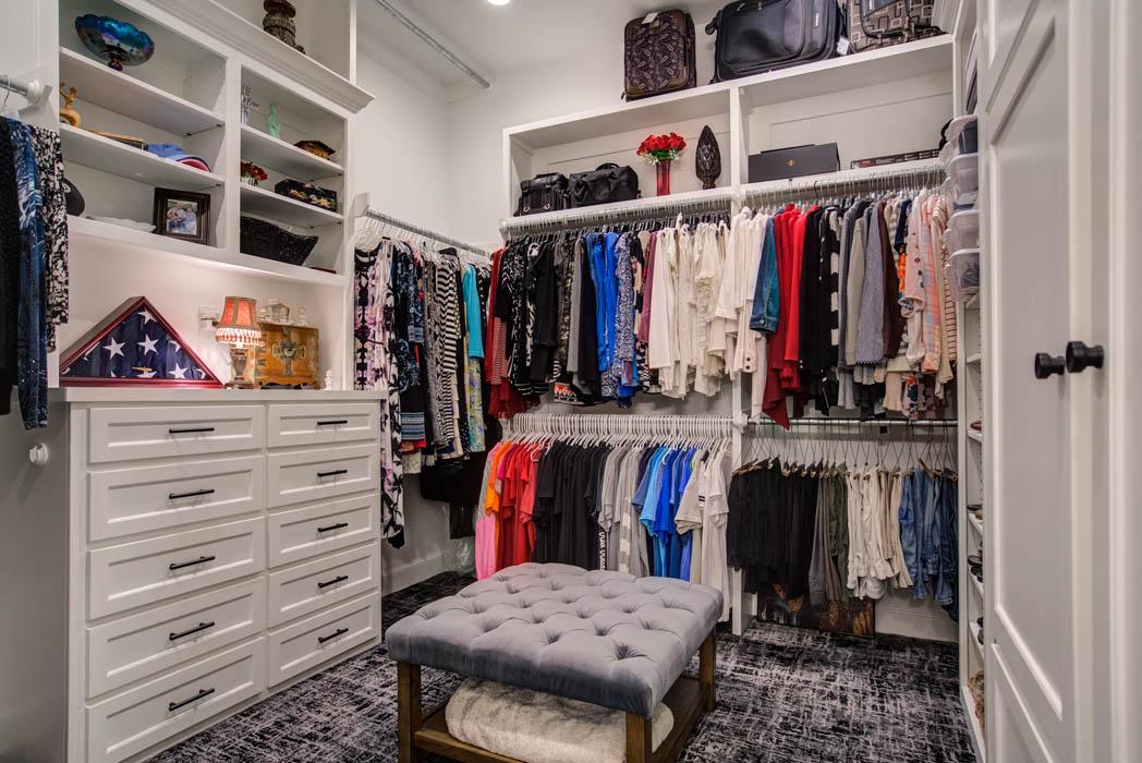 Master closet in cstom home built in in Lubbock, Texas.
