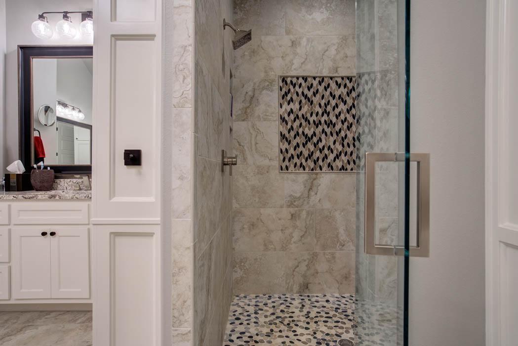 Master bath shower in custom home.