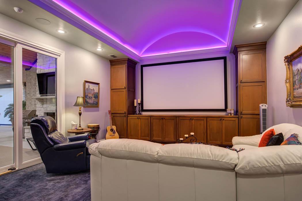 Spacious home theatre in Lubbock custom home.