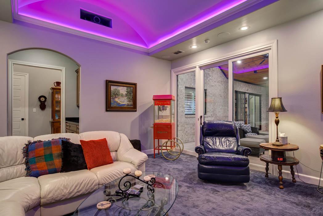 Beautiful home theatre room in custom home built in Lubbock, Texas.