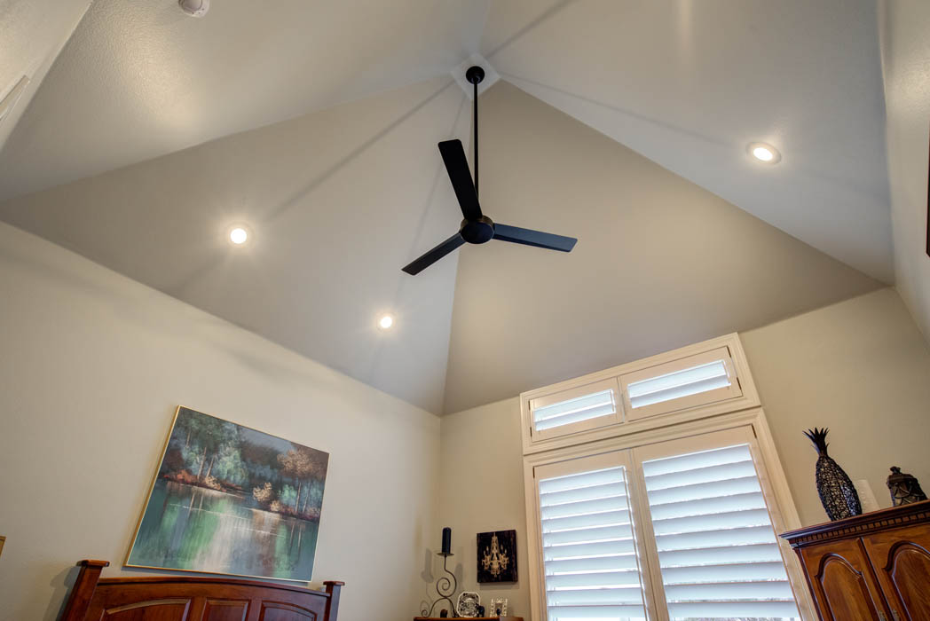 Vaulted ceiling in bedroom of custom home in Lubbock, Texas.